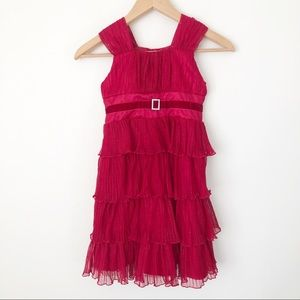 Jona Michelle Red Sparkly Tiered Christmas Dress